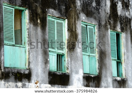 Series of old Green Shutters in Zanzibar, Tanzania - stock photo
