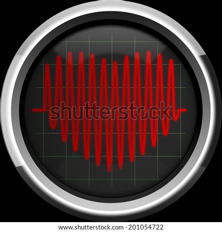 Series of pulses in the form of heart on the cardiomonitor or oscilloscope screen, background - stock photo