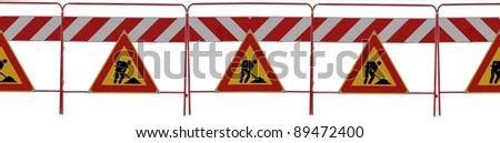 "Series of 6 Road signs ""man at work"" on white background - You can create banner how long do you need - stock photo"