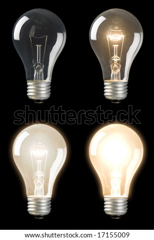 Series of sequenced Light Bulbs at different brightness levels - stock photo