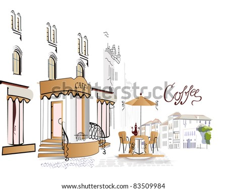Series of street cafes in the town - stock photo