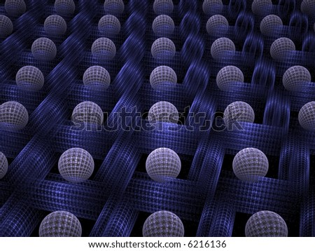 Series of textured white spheres resting in deep blue fractal grid on black background - stock photo