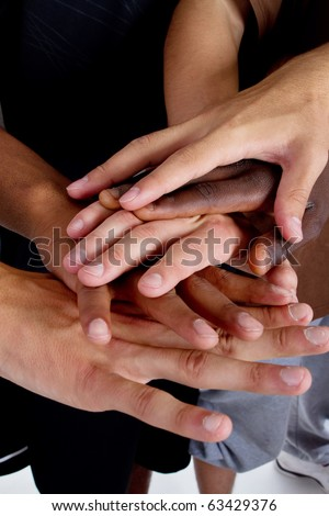 Series of various hands representing diversity.Lots of hands of different colors. - stock photo
