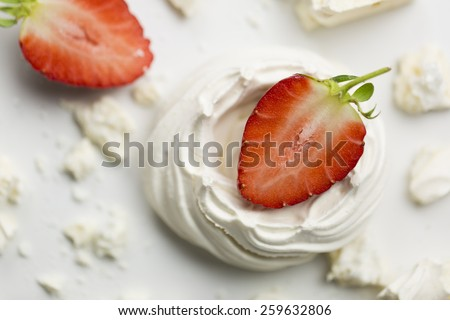 Series on Eton Mess, a traditional English dessert of strawberries, meringue and cream - stock photo