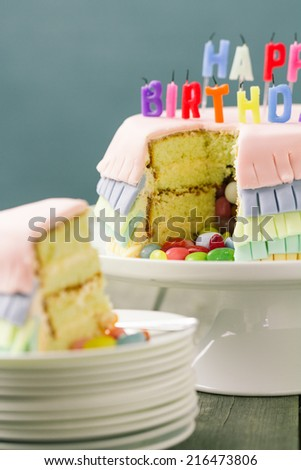 Series on Pinata Cake, a celebration cake with a hidden stash of sweets inside.
