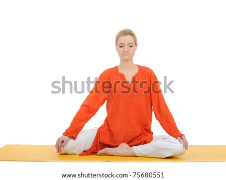 series or yoga photos. young woman doing yoga stretching pose on yellow pilates mat - stock photo
