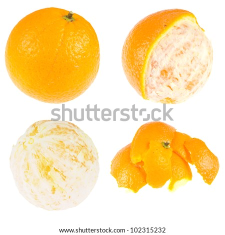 Series: orange and peel, isolated against background