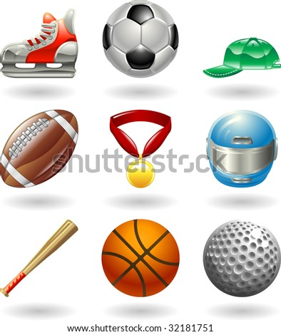 Series set of shiny color icons or design elements related to sports