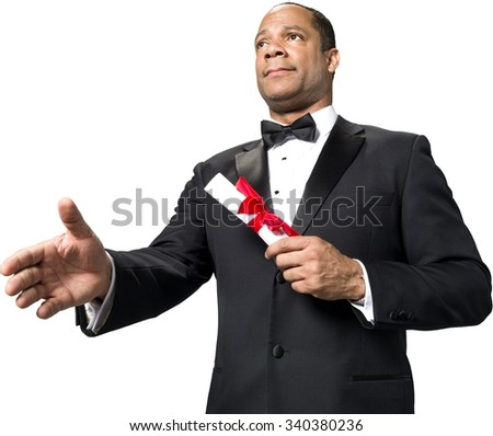 Serious African man with short black hair in evening outfit holding diploma - Isolated