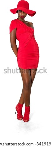 Serious African young woman in evening outfit fashion pose - Isolated