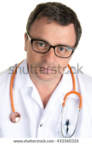 Serious and confident doctor with glasses and stethoscope - stock photo