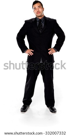 Serious Asian man with short black hair in business formal outfit with hands on hips - Isolated