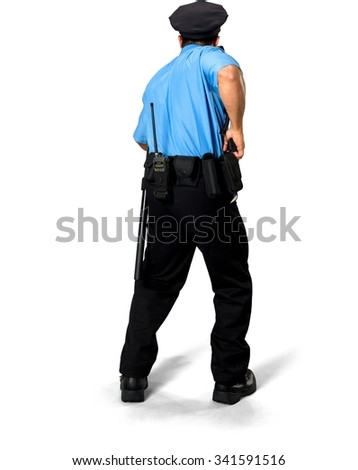 Serious Asian man with short black hair in uniform holding handgun - Isolated - stock photo