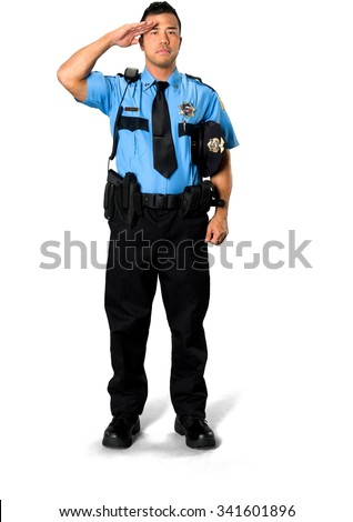 Serious Asian man with short black hair in uniform holding hat - Isolated