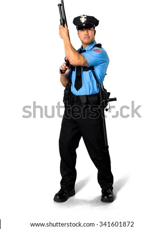 Serious Asian man with short black hair in uniform holding shotgun - Isolated