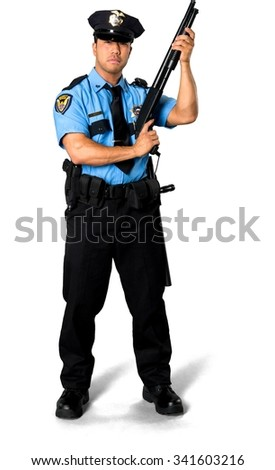 Serious Asian man with short black hair in uniform holding shotgun - Isolated - stock photo