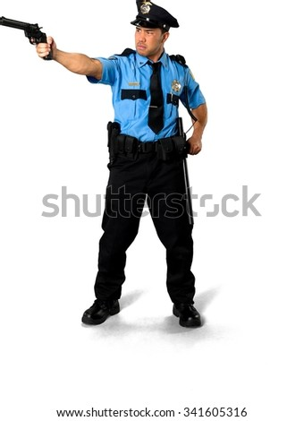 Serious Asian man with short black hair in uniform using handgun - Isolated - stock photo