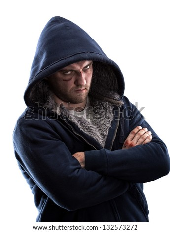 Serious bandit looking to you. Isolated - stock photo