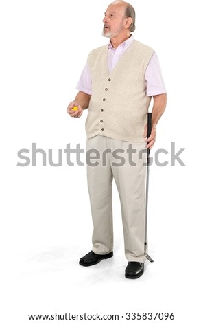 Serious Caucasian elderly man with short grey hair in casual outfit holding prop - Isolated