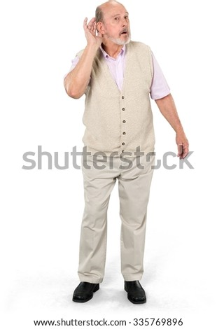 Serious Caucasian elderly man with short grey hair in casual outfit listening - Isolated