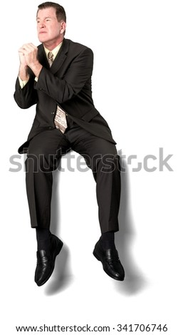 Serious Caucasian elderly man with short medium brown hair in business formal outfit begging - Isolated - stock photo