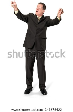 Serious Caucasian elderly man with short medium brown hair in business formal outfit holding invisible object - Isolated