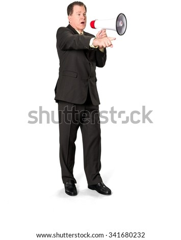 Serious Caucasian elderly man with short medium brown hair in business formal outfit using megaphone - Isolated