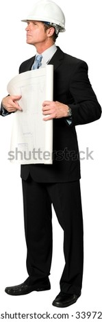 Serious Caucasian man with short black hair in business formal outfit holding blueprints - Isolated - stock photo