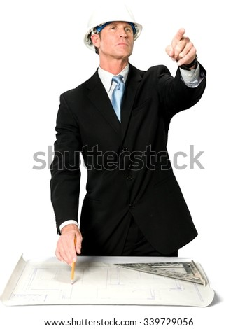 Serious Caucasian man with short black hair in business formal outfit holding blueprints - Isolated