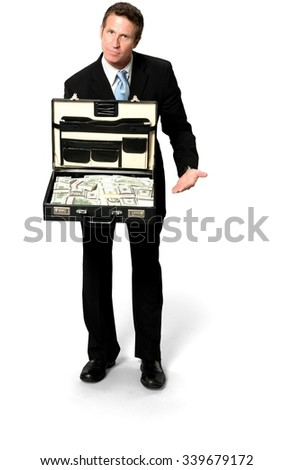 Serious Caucasian man with short black hair in business formal outfit holding briefcase - Isolated - stock photo