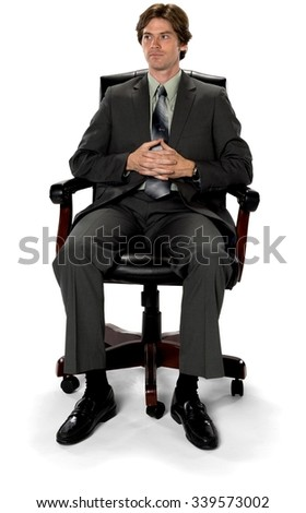 serious caucasian man with short dark brown hair in business formal outfit isolated - Office Chair For Short Person