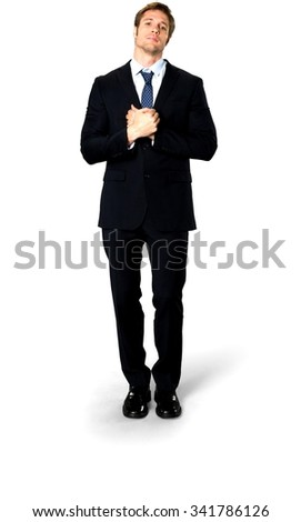 Serious Caucasian man with short medium blond hair in business formal outfit begging - Isolated