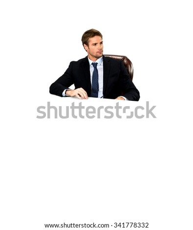 Serious Caucasian man with short medium blond hair in business formal outfit - Isolated