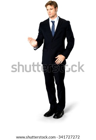 Serious Caucasian man with short medium blond hair in business formal outfit showing stop hand - Isolated