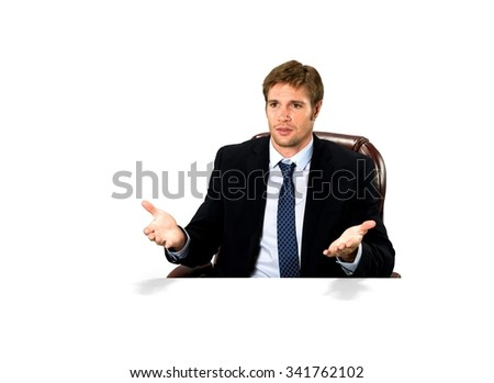 Serious Caucasian man with short medium blond hair in business formal outfit talking with hands - Isolated - stock photo