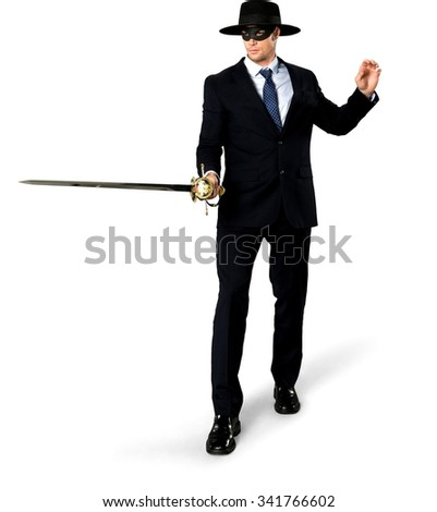 Serious Caucasian man with short medium blond hair in business formal outfit using mask - Isolated