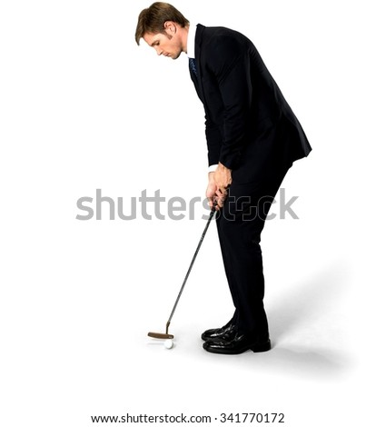 Serious Caucasian man with short medium blond hair in business formal outfit using prop - Isolated