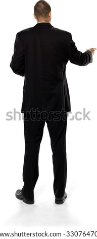 Serious Caucasian man with short medium brown hair in business formal outfit with hands on stomach - Isolated