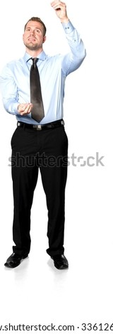 Serious Caucasian young man with short medium brown hair in business formal outfit holding invisible object - Isolated
