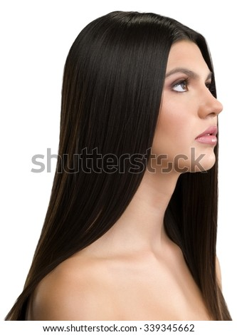 Serious Caucasian young woman with long black hair - Isolated