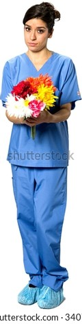 Serious Caucasian young woman with medium dark brown hair in uniform holding flowers - Isolated - stock photo