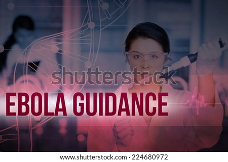 Serious chemist working with white dna helix diagram inteface against ecg line in red and black - stock photo