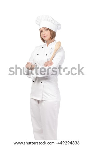serious female chef, cook or baker with wooden spoon isolated on white background. cooking and food concept