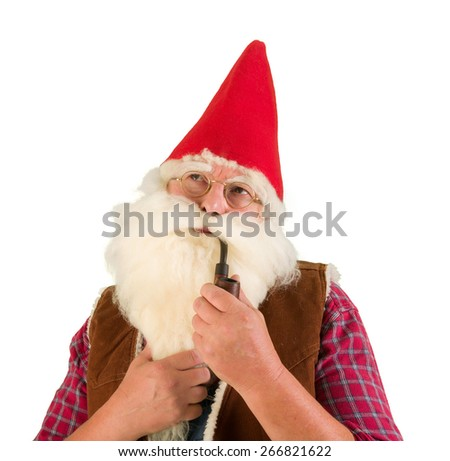 Serious garden gnome smoking an old pipe - stock photo