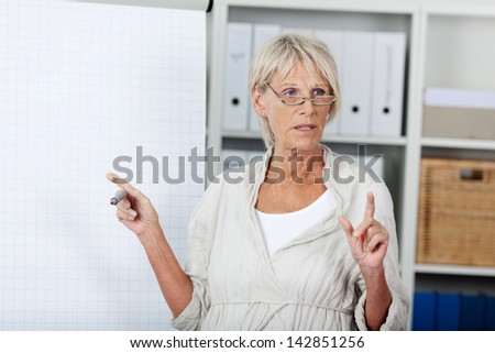 Serious good looking senior woman holding a presentation - stock photo