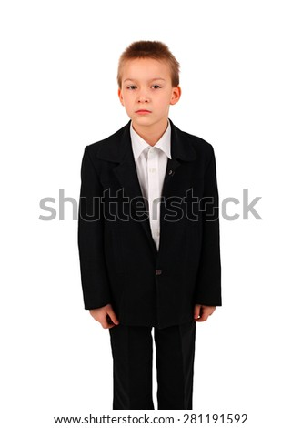 Serious Kid Isolated on the White Background