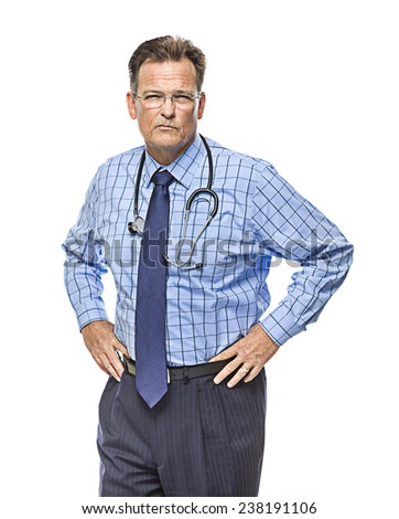 Serious Male Doctor with Stethoscope Isolated on a White Background. - stock photo