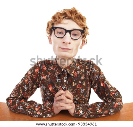 Serious nerdy guy - stock photo