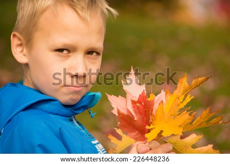 Serious school-aged boy with a bunch of colorful autumn leaves in his hands - stock photo