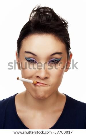 Serious Smoker - stock photo